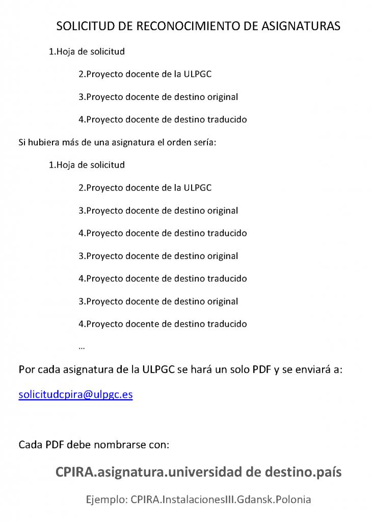 SOLICITUD DE RECONOCIMIENTO DE ASIGNATURAS