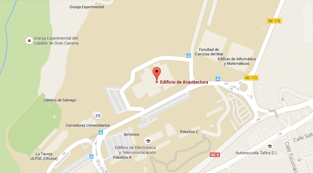 Localización de la escuela de Arquitectura de Las Palmas de Gran Canaria