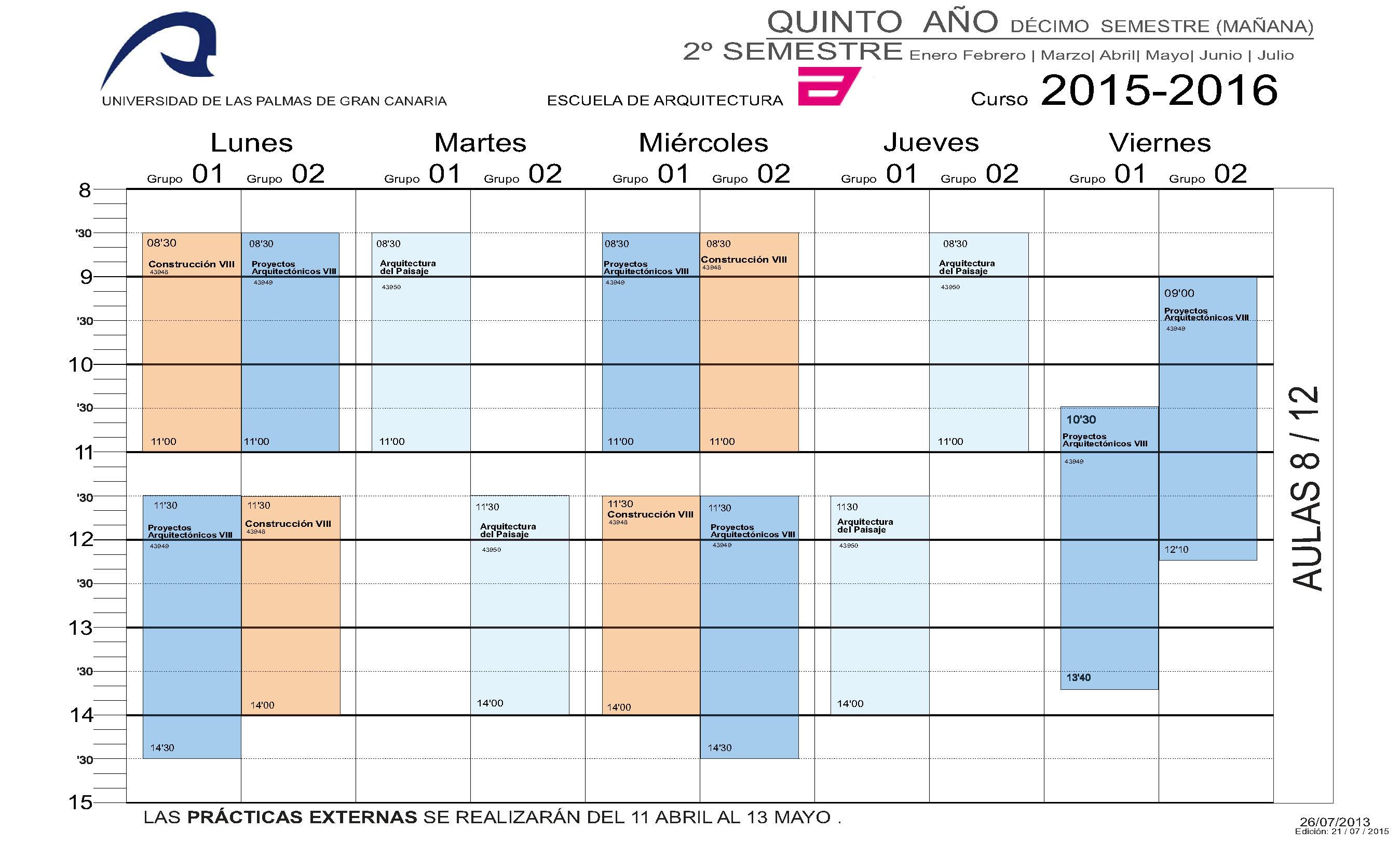 Horarios 2015 2016 rectif p gina 2 escuela de arquitectura - Horario oficina correos madrid ...