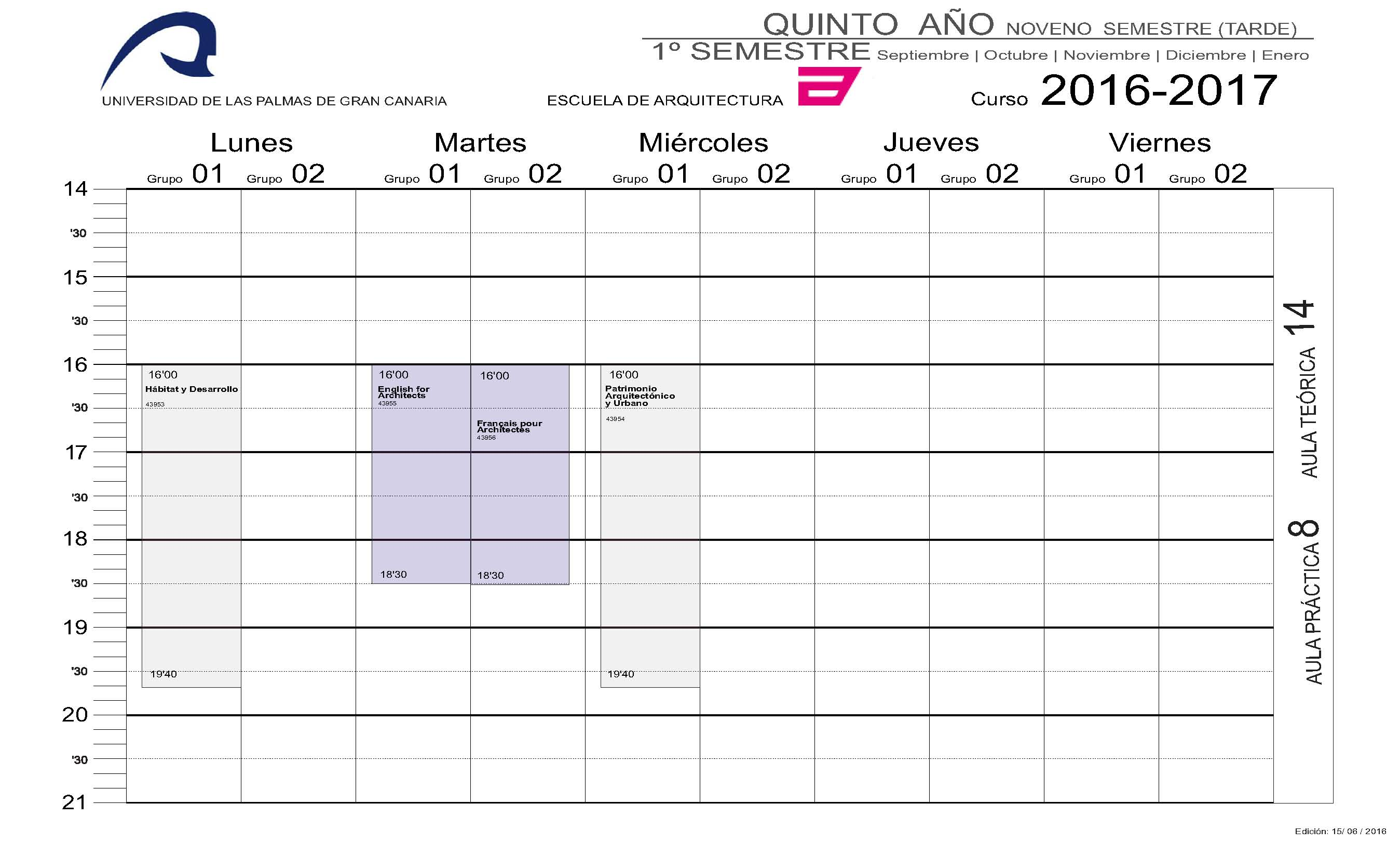 Horarios del grado en arquitectura escuela de arquitectura for Horario piscinas soria 2016