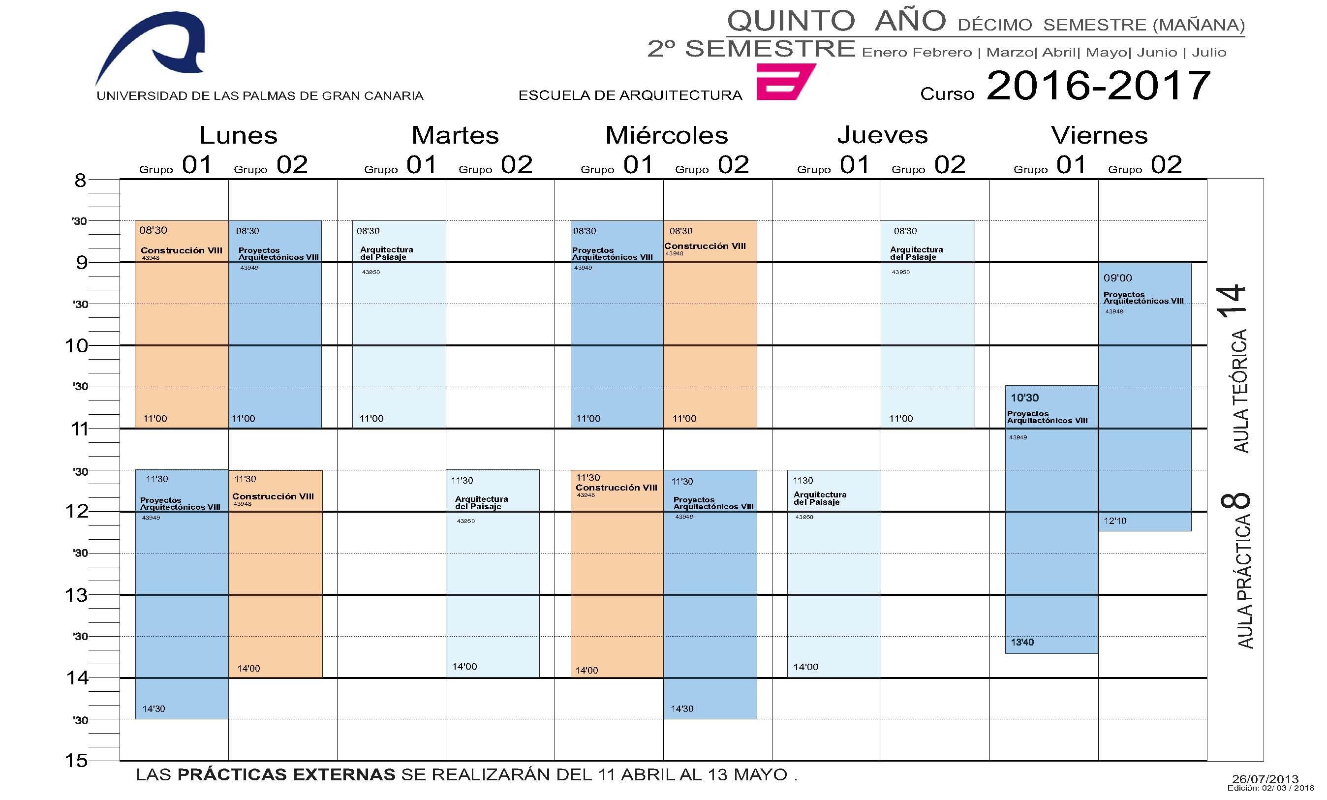 Horarios del grado en arquitectura escuela de arquitectura for Asignaturas arquitectura