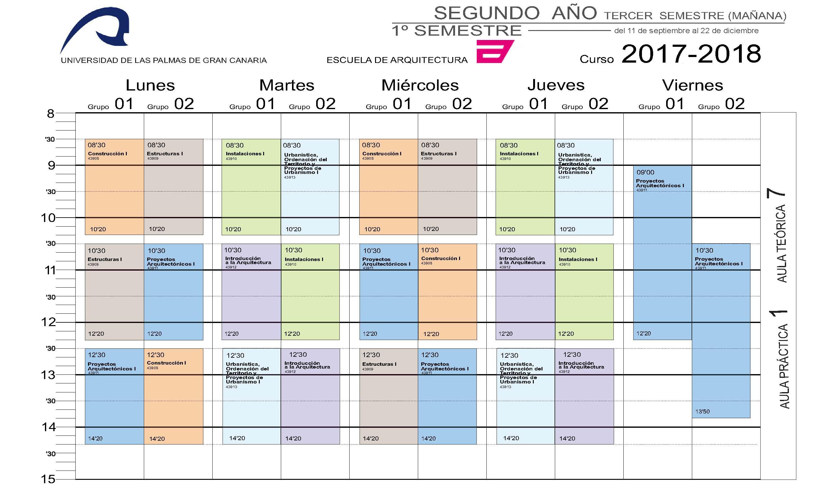 horarios del grado en arquitectura escuela de arquitectura