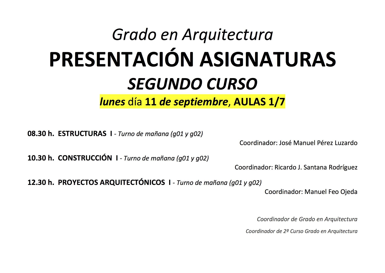 Presentaci n asignaturas primer semestre grado en for Asignaturas arquitectura